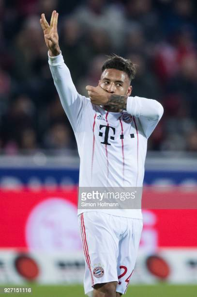 Corentin Tolisso of Muenchen celebrates his team's second goal during the Bundesliga match between SportClub Freiburg and FC Bayern Muenchen at...