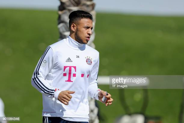 Corentin Tolisso of Muenchen looks on during the FC Bayern Muenchen training camp at Aspire Academy on January 03 2018 in Doha Qatar