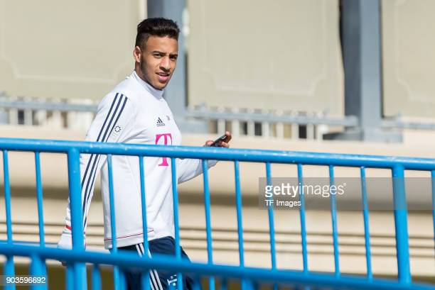 Corentin Tolisso of Muenchen looks on during the FC Bayern Muenchen training camp at Aspire Academy on January 07 2018 in Doha Qatar