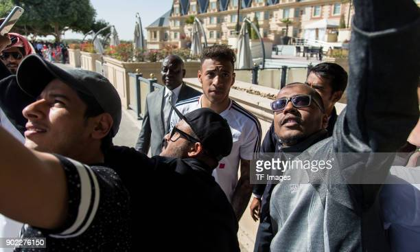 Corentin Tolisso of Muenchen poses for selfies during the FC Bayern Muenchen training camp at Aspire Academy on January 06 2018 in Doha Qatar