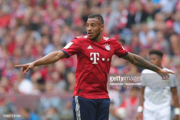 Corentin Tolisso of Muenchen reacts during the Bundesliga match between FC Bayern Muenchen and Bayer 04 Leverkusen at Allianz Arena on September 15...