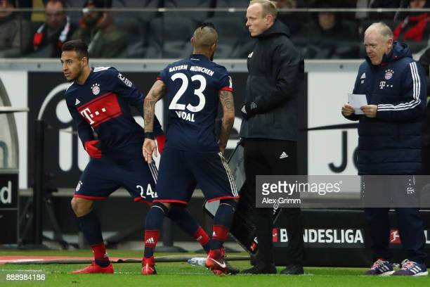 Corentin Tolisso of Muenchen replaces Arturo Vidal during the Bundesliga match between Eintracht Frankfurt and FC Bayern Muenchen at CommerzbankArena...