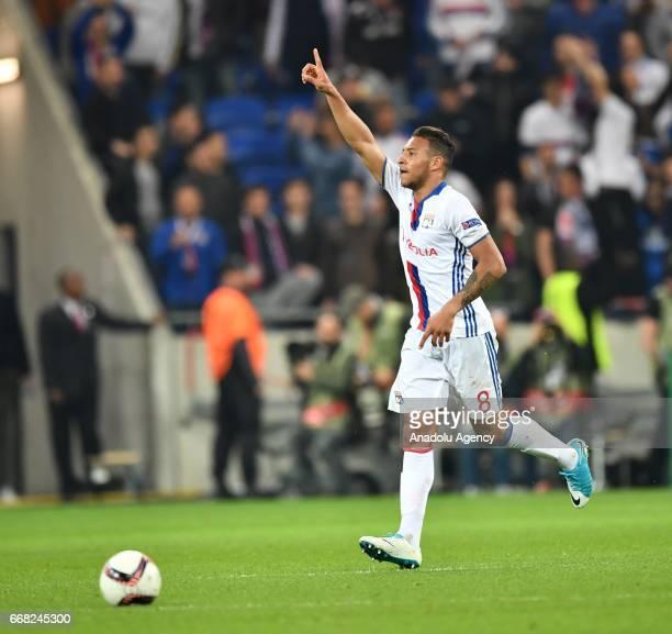 Corentin Tolisso of Olympique Lyonnais celebrates after scoring a goal during the UEFA Europa League first leg quarter final football match between...