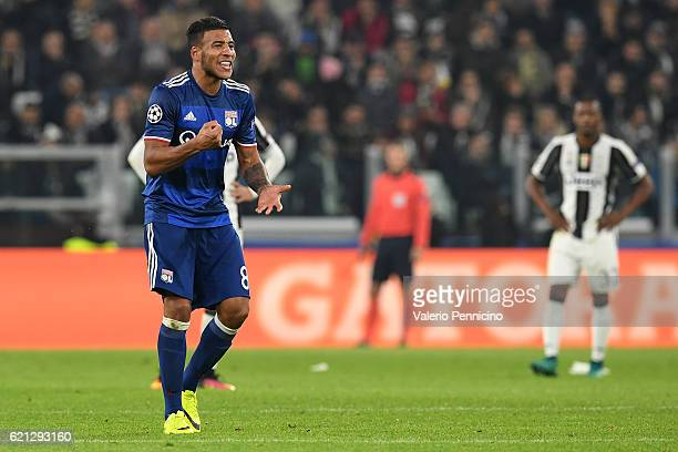 Corentin Tolisso of Olympique Lyonnais celebrates his goal during the UEFA Champions League Group H match between Juventus and Olympique Lyonnais at...