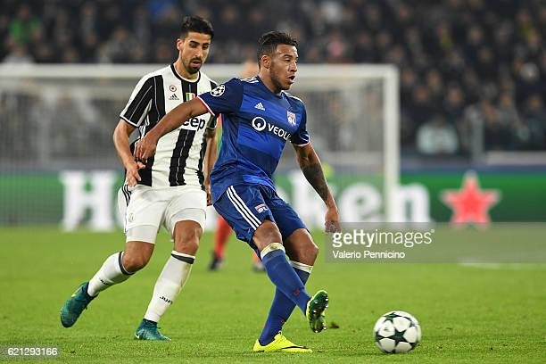 Corentin Tolisso of Olympique Lyonnais in action against Sami Khedira of Juventus during the UEFA Champions League Group H match between Juventus and...