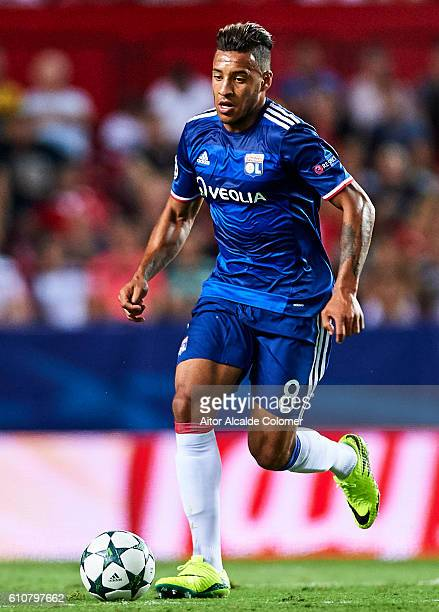 Corentin Tolisso of Olympique Lyonnais in action during the UEFA Champions League match between Sevilla FC and Olympique Lyonnais at Sanchez Pizjuan...