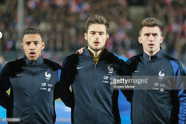Corentin Tolisso Thomas Didillon and Aymeric Laporte of France during the Uefa U21 European Championship qualifier between France and Scotland at...