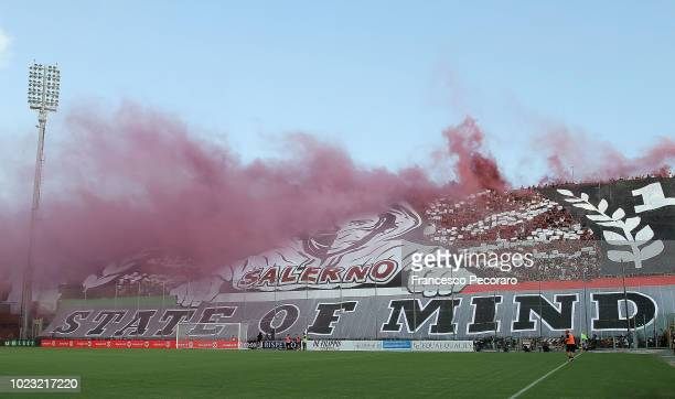 A coreography by US Salernitana supporters before the Serie B match between US Salernitana and US Citta di Palermo on August 25 2018 in Salerno Italy