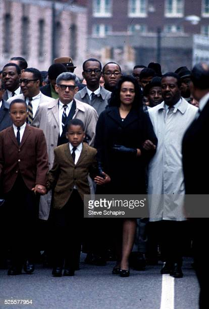 Coretta Scott King along with her sons and Reverend Abernathy walk through the streets of Memphis after the assassination of her husband civil rights...