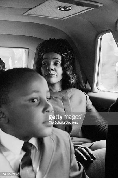 Coretta Scott King and her son Martin ride in an automobile to the funeral of Martin Luther King Jr in Atlanta
