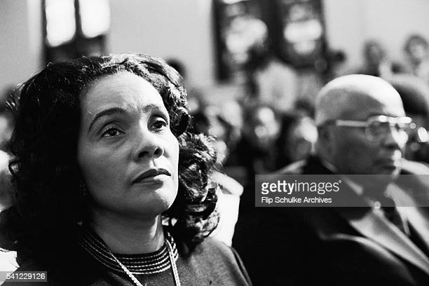 Coretta Scott King attends a memorial service for her husband Martin Luther King Jr at Ebenezer Baptist Church King along with his father Martin Sr...