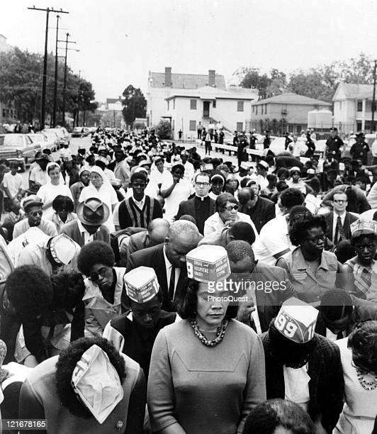 Coretta Scott King center widow of the late Martin Luther King Jr marches with hospital workers striking for the right to unionize andbargain with...