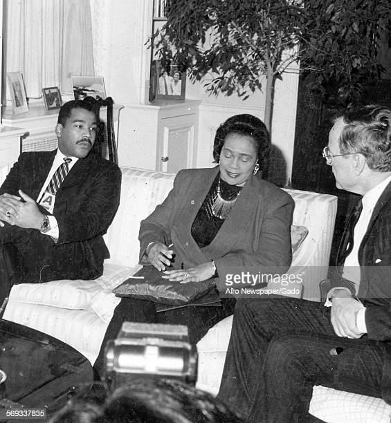 Coretta Scott King Dexter King and President George HW Bush 1988