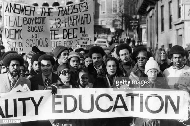 Coretta Scott King leads a march in support of school desegregation down Part Street in Boston on Nov. 30, 1974.