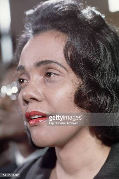Coretta Scott King speaks at a press conference during the week of her husband's funeral services in Atlanta