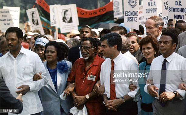 Coretta Scott King widow of civil rights leader Dr Martin Luther King marches 27 August 1988 during the 25th anniversary of Dr King's march on...
