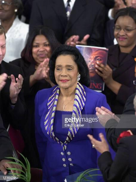 Coretta Scott King widow of slain civil rights leader Rev Martin Luther King acknowledges the applause during the Martin Luther King Jr Commemorative...