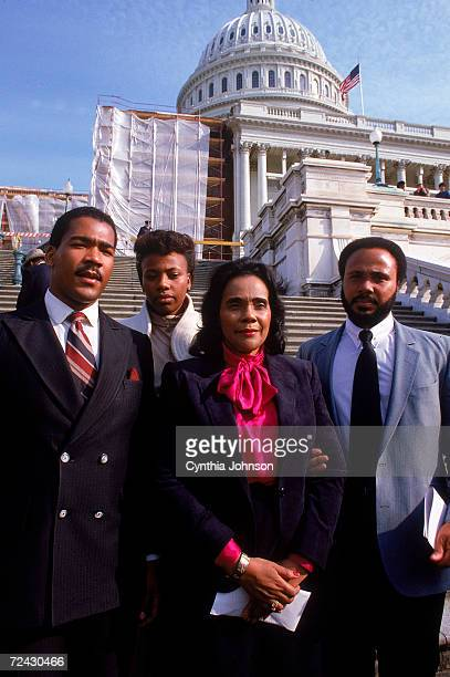 Coretta Scott King with her children Dexter Bernice Martin Luther III in Washington on the day her husband's birthday was declared a National holiday
