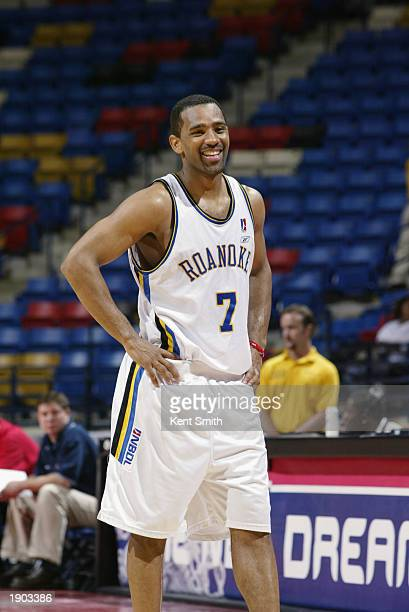 Corey Alexander of the Roanoke Dazzle smiles during Game One of the NBDL Semifinals against the Fayetteville Patriots at the Crown Coliseum on March...