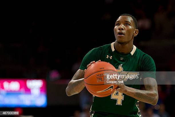 Corey Allen Jr #4 of the South Florida Bulls shoots a freethrow against the SMU Mustangs on January 15 2014 at Moody Coliseum in Dallas Texas