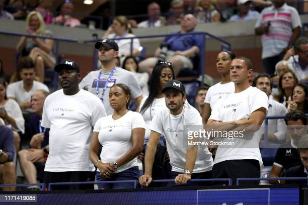 Corey and Candi Gauff clap for Cori Gauff of the United States during her Women's Singles match against Naomi Osaka of Japan on day six of the 2019...