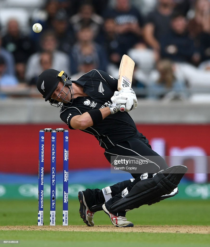 Corey Anderson of New Zealand avoids a short ball during the ICC Champions Trophy match between Australia and New Zealand at Edgbaston on June 2, 2017 in Birmingham, England.