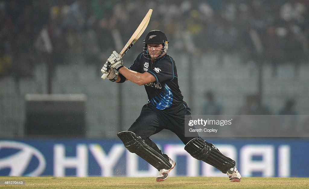 Corey Anderson of New Zealand bats during the ICC World Twenty20 Bangladesh 2014 Group 1 match between New Zealand and the Netherlands at Zahur Ahmed Chowdhury Stadium on March 29, 2014 in Chittagong, Bangladesh.