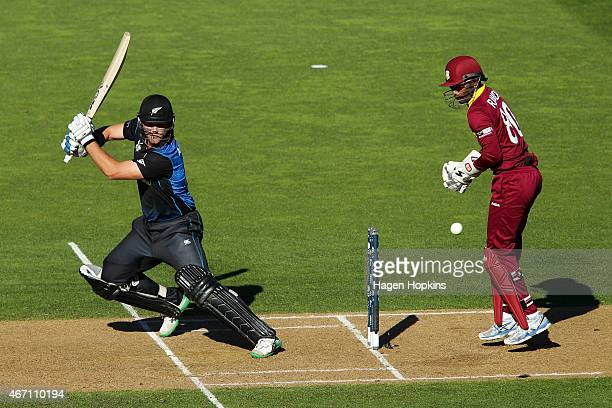 Corey Anderson of New Zealand bats while Denesh Ramdin of the West Indies during the 2015 ICC Cricket World Cup match between New Zealand and the...