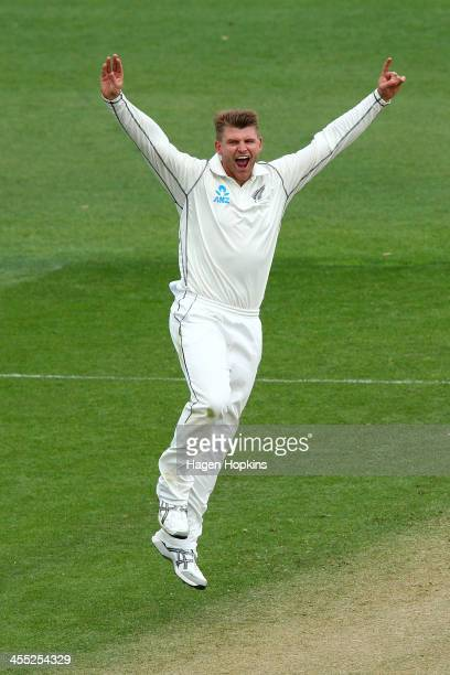 Corey Anderson of New Zealand celebrates after taking the wicket of Kirk Edwards of the West Indies during day two of the Second Test match between...