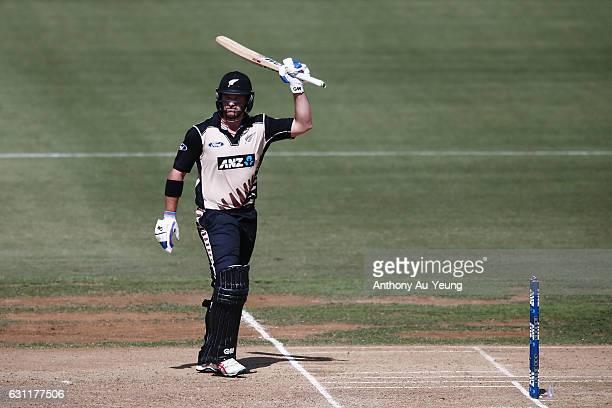 Corey Anderson of New Zealand celebrates scoring a half century during the third Twenty20 International match between New Zealand and Bangladesh at...