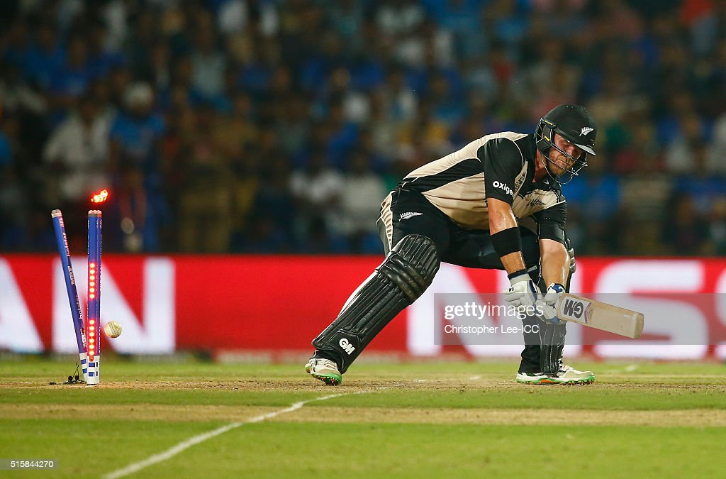 Corey Anderson of New Zealand is bowled out by Jasprit Bumrah of India during the ICC World Twenty20 India 2016 Group 2 match between New Zealand and India at the Vidarbha Cricket Association Stadium on March 15, 2016 in Nagpur, India.