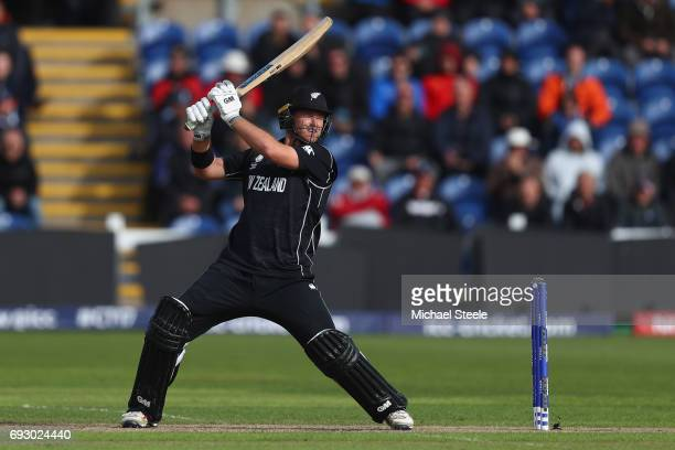 Corey Anderson of New Zealand plays to the offside during the ICC Champions Trophy match between England and New Zealand at the SWALEC Stadium on...