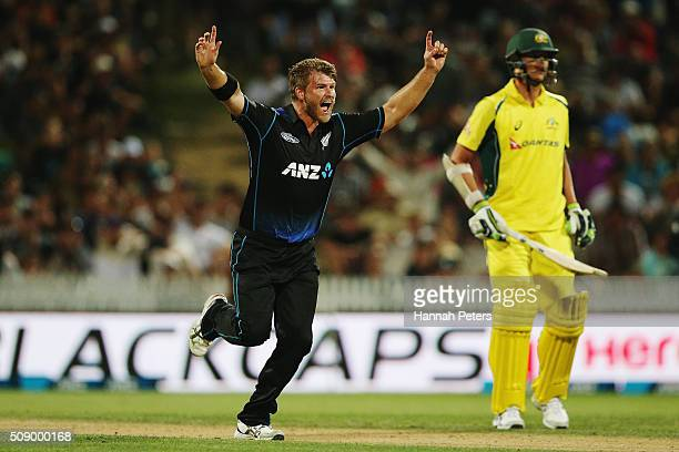 Corey Anderson of the Black Caps celebrates the wicket of Adam Zampa of Australia during the 3rd One Day International cricket match between the New...