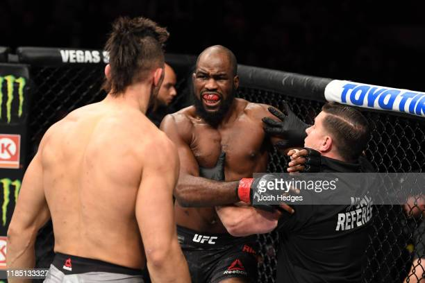 Corey Anderson reacts after his TKO victory over Johnny Walker of Brazil in their light heavyweight bout during the UFC 244 event at Madison Square...