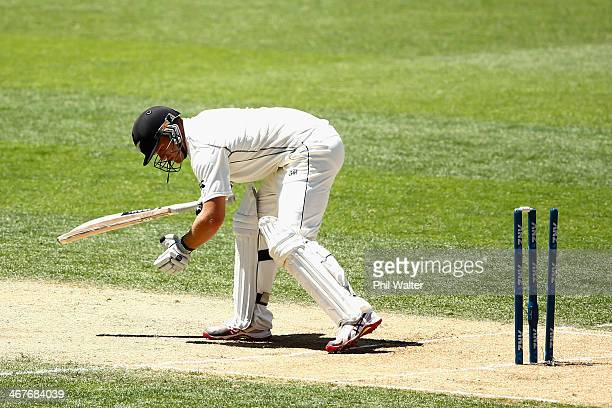 Corey Andserson of New Zealand is bowled by Mohammed Shami of India during day three of the First Test match between New Zealand and India at Eden...