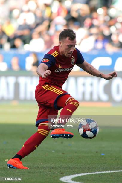 Corey Baird of Real Salt Lake takes the ball down the field during a game against the Los Angeles Galaxy at Dignity Health Sports Park on April 28...