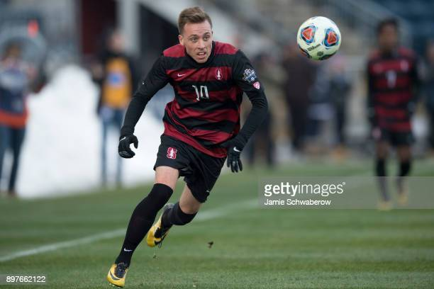 Corey Baird of Stanford University races after the ball against Indiana University during the Division I Men's Soccer Championship held at Talen...