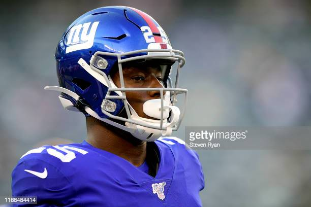 Corey Ballentine of the New York Giants warms up prior to a preseason game against the Chicago Bears at MetLife Stadium on August 16 2019 in East...