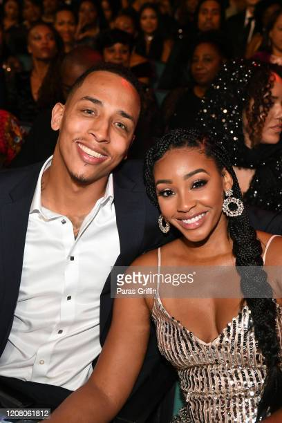 Corey Barrett and Jasmine Luv attend the 51st NAACP Image Awards Presented by BET at Pasadena Civic Auditorium on February 22 2020 in Pasadena...
