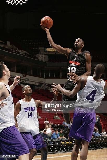 Corey Benjamin of the Charlotte Bobcats drives for a shot attempt against against Chris Bosh Mike Chappel and Rafael Araujo of the Toronto Raptors...