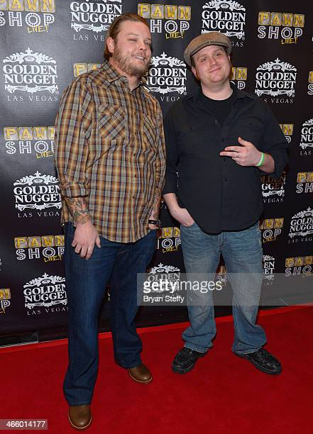 Corey 'Big Hoss' Harrison and actor Gus Langley arrive at the opening of 'Pawn Shop Live' a parody of History's 'Pawn Stars' television series at the...