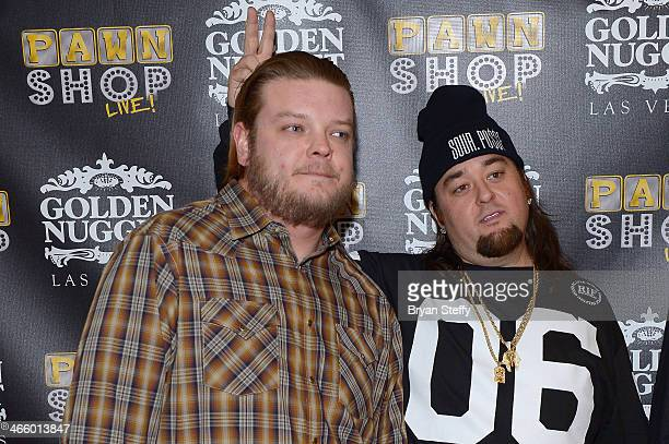 Corey 'Big Hoss' Harrison and Austin 'Chumlee' Russell arrive at the opening of 'Pawn Shop Live!,' a parody of History's 'Pawn Stars' television...