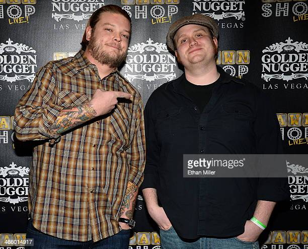 """Corey """"Big Hoss"""" Harrison and cast member Gus Langley arrive at the opening of """"Pawn Shop Live!,"""" a parody of History's """"Pawn Stars"""" television..."""