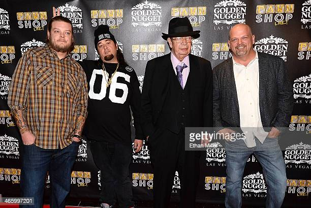 """Corey """"Big Hoss"""" Harrison, Austin """"Chumlee"""" Russell, Richard """"The Old Man"""" Harrison and Rick Harrison arrive at the opening of """"Pawn Shop Live!,"""" a..."""