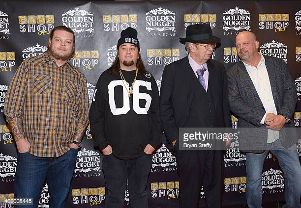 Corey 'Big Hoss' Harrison, Austin 'Chumlee' Russell, Richard 'The Old Man' Harrison and Rick Harrison arrive at the opening of 'Pawn Shop Live!,' a...