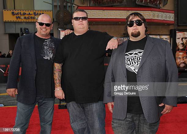Corey Big Hoss Harrison Richard Harrison and Austin Chum Lee Russel of Pawn Starsl arrive at the Los Angeles Premiere of The ATeam at the Grauman's...