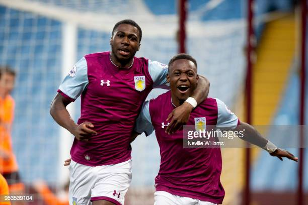 Corey BlackettTaylor of Aston Villa celebrates after scoring for Aston Villa during the Premier League 2 play off semi final match between Aston...