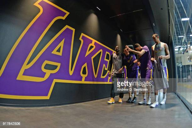 Corey Brewer Lonzo Ball Kyle Kuzma and Channing Frye of the Los Angeles Lakers walk to an all access practice on February 12 2018 at UCLA Heath...
