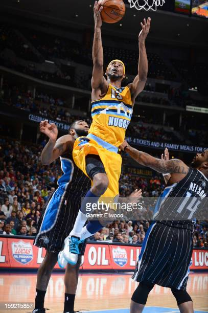 Corey Brewer of the Denver Nuggets goes to the basket during the game between the Orlando Magic and the Denver Nuggets on January 9 2013 at the Pepsi...