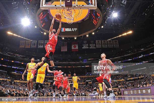 Corey Brewer of the Houston Rockets dunks the ball against the Los Angeles Lakers on October 26 2016 at STAPLES Center in Los Angeles California NOTE...
